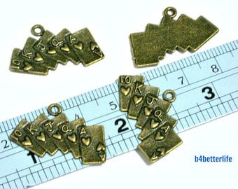 "Lot of 24pcs Antique Bronze Tone ""Poker Cards"" Metal Charms. #BC3783."