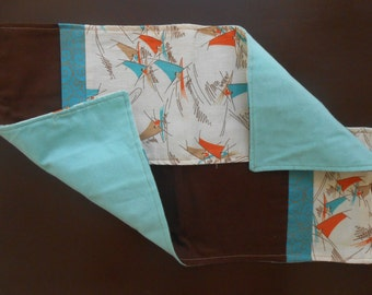 Turquoise, brown and cream sailboat burp cloth set