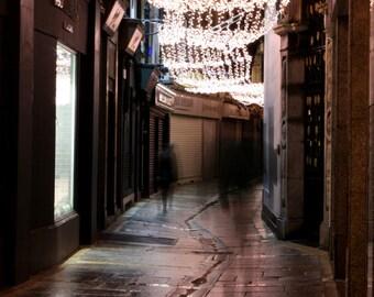 Dublin Street Photograph / Christmas Lights / Travel Photograph / Home Decor / Ireland Photography / fpoe / Holiday Decor