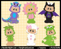 Costume Babies Psd Templates - Commercial Use Layered Psd - Cu4Cu Photoshop CS & Elements - Halloween, Dress Up, Monster, Flower, Dino, Bat