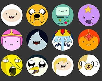 Adventure Time 1 inch Pinback Button Badges - set of 12