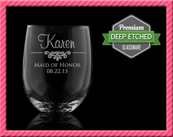 Personalized Stemless Wine Glasses, Bridal Party Gifts, 15 oz, Bridesmaids Gifts - Elegant, Set of 8+, FREE SHIPPING