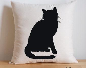 Cat Silhouette Pillow - Cotton Canvas or Burlap Pillow - Cat Pillow - Decorative Pillow - Cat Silhouette - Cat Lover Gift - Crazy Cat Lady