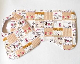 Deer Contoured Burp Cloth and Bib Gift Set, 100% Cotton Dotty Fabric and White Polar Fleece Lining, Hedgehog, Bird. Squirrel Woodland