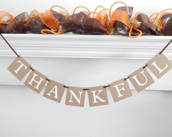 Thankful banner, fall banner, fall decor, fall decorations, thankful sign, Thanksgiving banner, Be Thankful, thanksgiving decoration