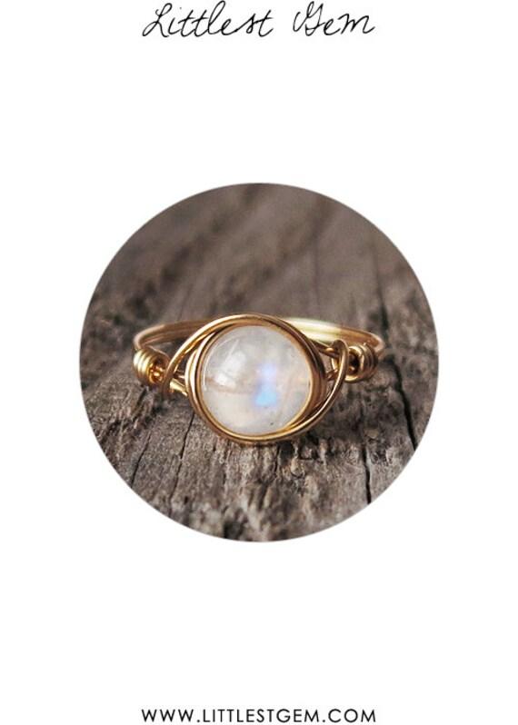 rainbow moonstone ring unique rings by littlestgem on etsy