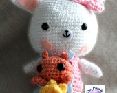 Amigurumi Easter Kawaii Bunny Doll, crocheted plush, toy, handmade
