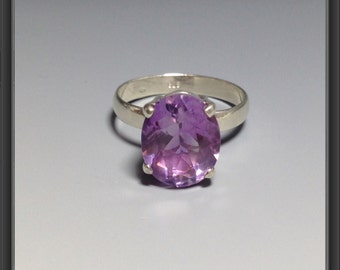 Sterling Silver ring with Amethyst US size  7.5