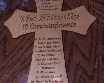 Stained Hillbilly 10 Commandments Cross