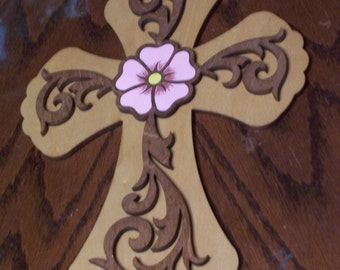 Hand Stained and Hand Painted Cross with Scrollwork and Flower