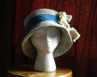 "Women's felted wool hand-knit hat--cream and grey tweed with cream poppy and 2"" French blue velvet ribbon--Cream Poppy"