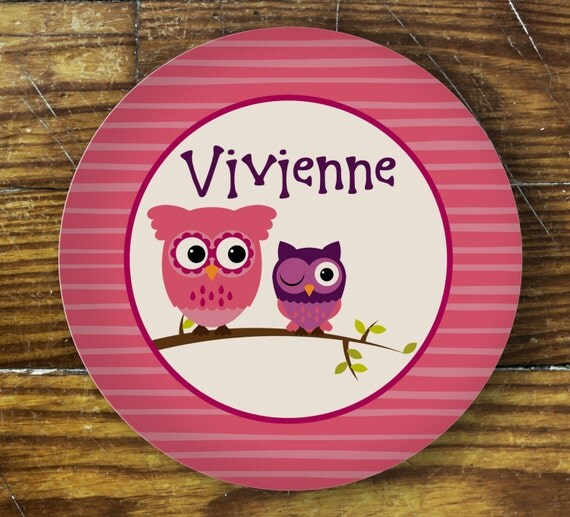 Personalized Dinner Plate or Bowl - Pink Owl