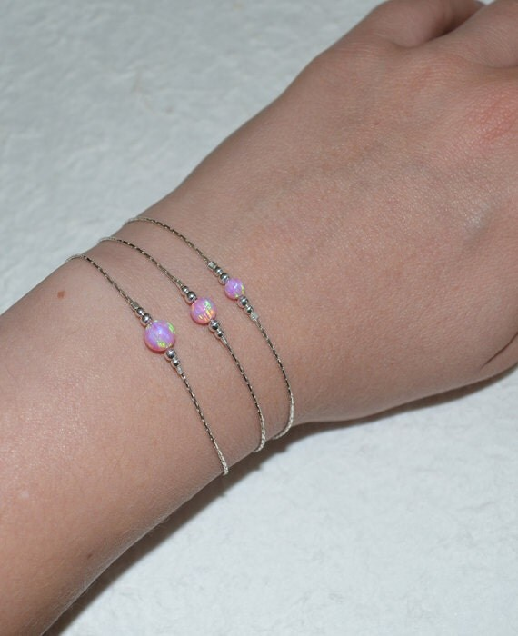 Opal Bracelet, Tiny Dot Bracelet, Small Opal Ball Silver Bracelet, pink opal charm, simple dainty circle opal bead bracelet, opal jewelry