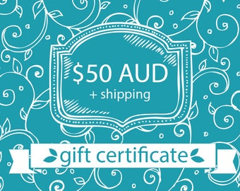 50 AUD Gift Certificate (including shipping within Australia) (Digital File)
