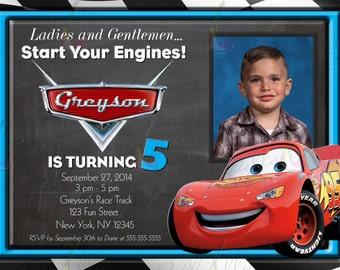 Lightening McQueen Cars Custom Printable Birthday Party Invitation