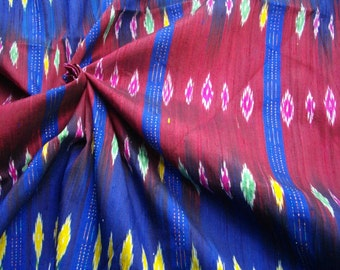 Handwoven 100% Thai silk. Red and blue multi 2 yds/1.8m