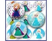 Princess Winter Bottle Cap Images Sheet, Snow, Snowman