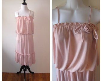 Vintage 1970s Nardis of Dallas Pink Tank Dress