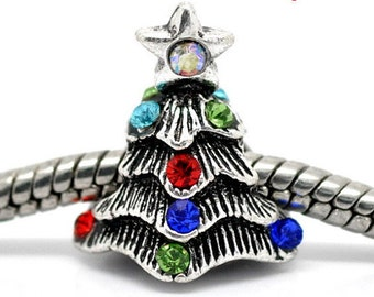 3D Christmas Tree Silver & Rhinestones for All European Bracelets ~ Beautiful