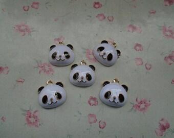 set of 10 metal panda pendant , metal panda charm , 18x18mm , gold basic , MPC3541-10