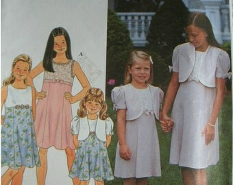 Girls Dress and Jacket Girls Size 3-4-5-6 Simplicity Pattern 8548 Easy to Sew UNCUT PATTERN Dated 1998