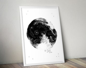 """Map of the Moon – Big Art Print – Multiple sizes available  8"""" x 10"""" / 12"""" x 18"""" / 24"""" x 36"""""""