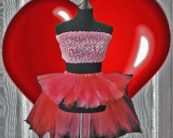 Red and Shimmer Pink Bustle Tutu