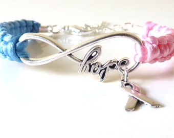 Pink/Blue Awareness Ribbon HOPE Charm Bracelet SIDS Pregnancy Infant Loss Infertility Inflammatory Breast Cancer Male Breast Cancer Pro Life