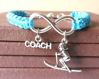 Skiing Coach Athletic Charm Infinity Bracelet Coach Charm You Choose Your Cord Color(s)
