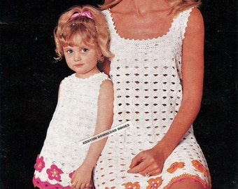 """Crochet MOTHER DAUGHTER DRESSES Pattern Child's 1, 2, 4 years; Lady's 34, 36, 38"""" bust - Vintage Digital Immediate Download Pdf Kenyon 0983"""