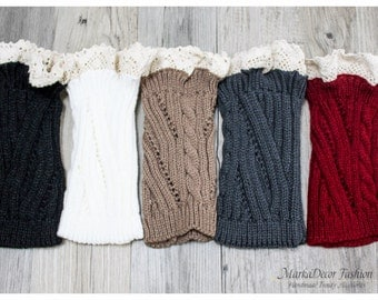 Women Knitted Lace Boot Cuffs Boot Toppers Knitted Boot Cuffs Trim Boot Cuffs