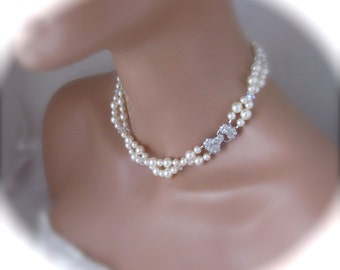 Ivory Pearl Wedding Necklace Bridal Jewelry Swarovski Pearl Wedding Jewelry