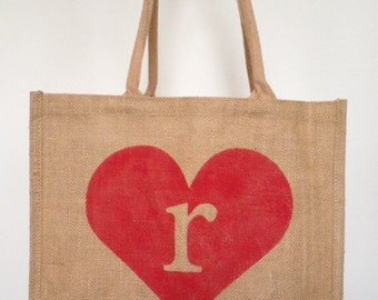 "15.5"" x 13.75"" x 6"" Personalized Burlap Totes, We Heart You"
