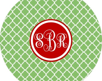 Christmas Monogram Quatrefoil Dinner Plate. Start a FUN holiday tradition with a plate customized with your family name. Great for gifts!!