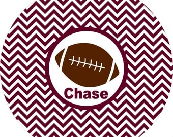 Monogrammed maroon football striped big kid boys dinner plate.  A custom, fun and UNIQUE gift idea! Kids love eating on personalized plates!
