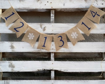 Save the Date Burlap Banner with Snowflakes, Engagement Banner, Photo Prop, Winter Burlap Banner, Rustic Winter Decor, Pregnancy Annoucement