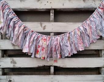 Vintage Inspired Floral Rag Garland, Fabric Banner, Baby Shower Decor, Photo Prop, Backdrop Garland, Rustic Wedding Decor, Home Decor