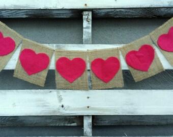 Burlap Banner with Felt Hearts, Valentines Burlap Banner, Heart Banner, Valentines Photo Prop, Rustic Wedding Decor, Valentines Wedding