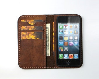 "Handmade iPhone 5 / 5S, SE, iPhone 4 /4S, iPhone 6 / 6S (4,7""),  iPhone 7 Leather Wallet Case, iPhone Leather Case - Free Monogramming"