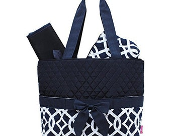 Vine Pattern Print Quilted 3pc Diaper Bag  WITH FREE MONOGRAM