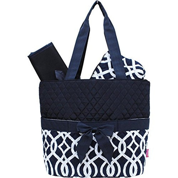 vine pattern print quilted 3pc diaper bag with free by atltrends. Black Bedroom Furniture Sets. Home Design Ideas