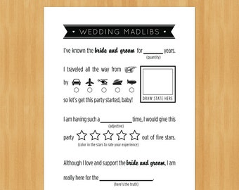 Printable Wedding MadLibs Game, DIY, Instant Download, Printable PDF, Black and White