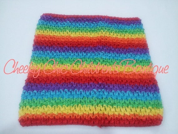 10x9 inch RAINBOW Stripe Crochet Tutu Dress Tube Top [CB10RAIN]