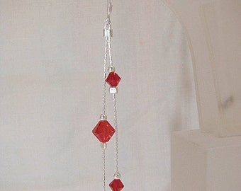 Sterling .925 Silver Earrings with Ruby Swarovski Beads
