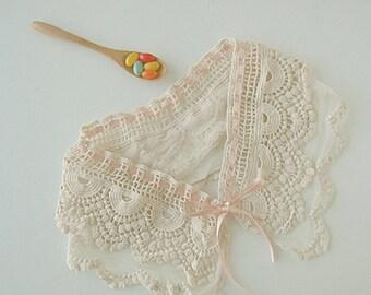 Pink Ribbon detachable collar Lace fake collar knit crochet collar lace collar crochet collar
