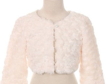 Girls White Fur Bolero, Ivory Fur Jacket, Flower Girl Bolero, Girls Blac, Ivory Fur Shrug, Special Occasion