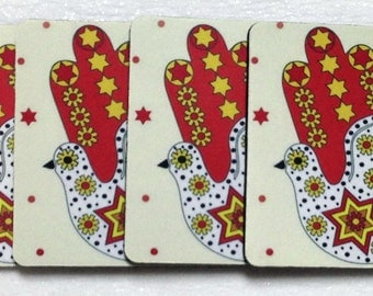 Jewish Dove of Peace Coasters - Set of 4