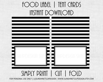 Printable Black and White Stripe Food Labels, Printable Table Tent Cards by SUNSHINETULIPDESIGN