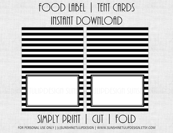 printable black and white stripe food labels printable table tent