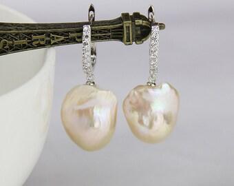 Large baroque pearl earrings,large pearl earrings,jumbo flameball pearl earrings,natural metallic pearl earrings,huge fireball pearl earings